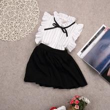 Fashion Toddler Kids Baby Girls Outfits Elegant White Sleeveless White Stripe Bow Blouse Tops+Shorts Skirt Clothes Set 2-7Y 2019 jennifer greene the baby chase