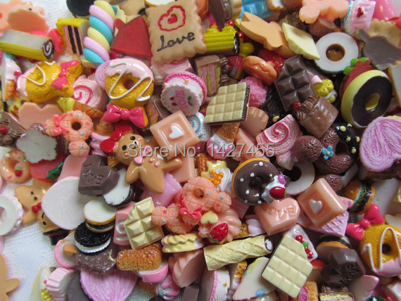 50pcs/lot Dessert Cabochon Flatback Sweet Resin Embellishments, Assorted Mix, Cell Phone, Decoden Kawaii