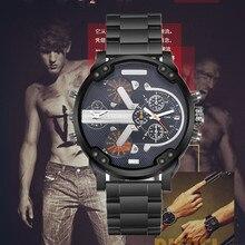 Whole sale homme casual nouveau grand cadran calendrier en acier inoxydable armée de montres hommes d'affaires Rétro remorquage temps sport montre