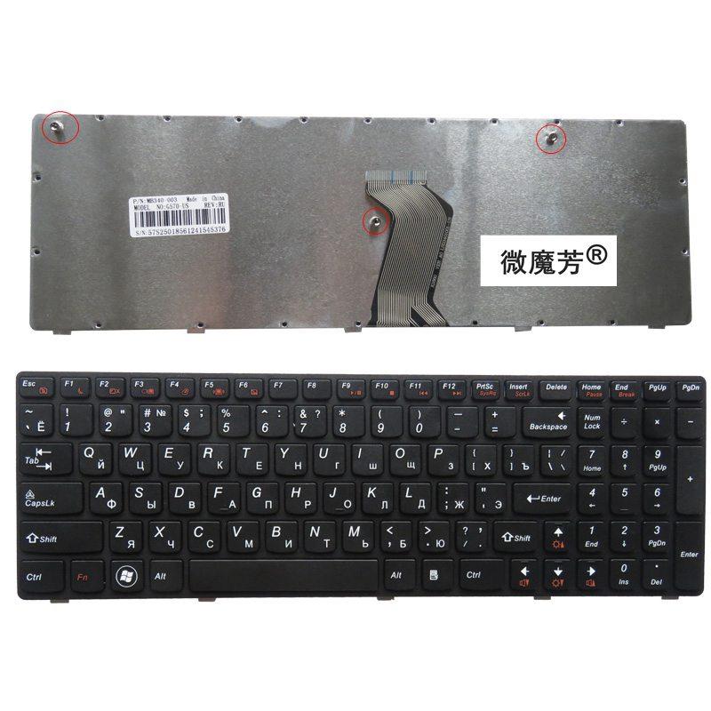 Orosz új billentyűzet a LENOVO-hoz IdeaPad G560 G560A G565 G560L G565A G560E RU laptop billentyűzetéhez Fekete keret