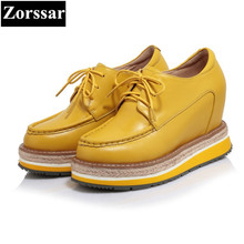 {Zorssar} 2017 Womens Genuine leather platform Shoes Wedges High heels Pumps Women height increasing shoes female casual shoes