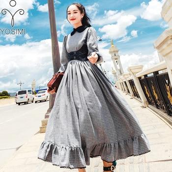 f4a6570756 YOSIMI 2018 Otoño e Invierno Maxi Vintage de mujer largo vestido gris  Vestidos Mujer Vestidos fiesta de disfraces Vestido de manga larga