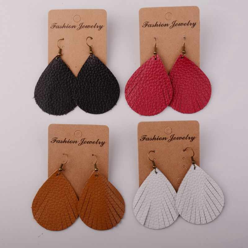 Rainbery Hot Sale Fashion Cutting Leaf Real Leather Earrings Antique Looking Various Colorful Dangle Drop Earrings JE0719