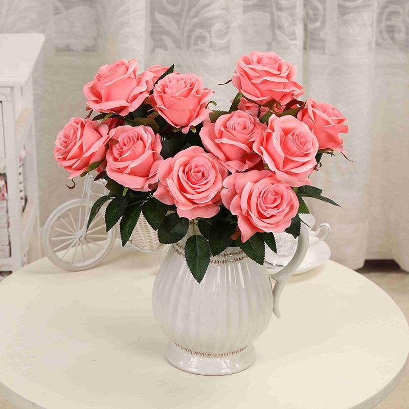 1 pušķis Mākslīgais zieds 9 galvas rožu DIY viltotas zīda zieds mājas dekoratīvām kāzu svētku dekorācijām