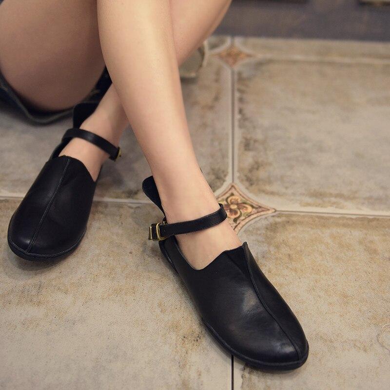 Artmu nuevos zapatos de mujer de Arte de cuero genuino Retro Casual personalidad boca profunda zapatos suaves hechos a mano 258 1-in Zapatos planos de mujer from zapatos    1