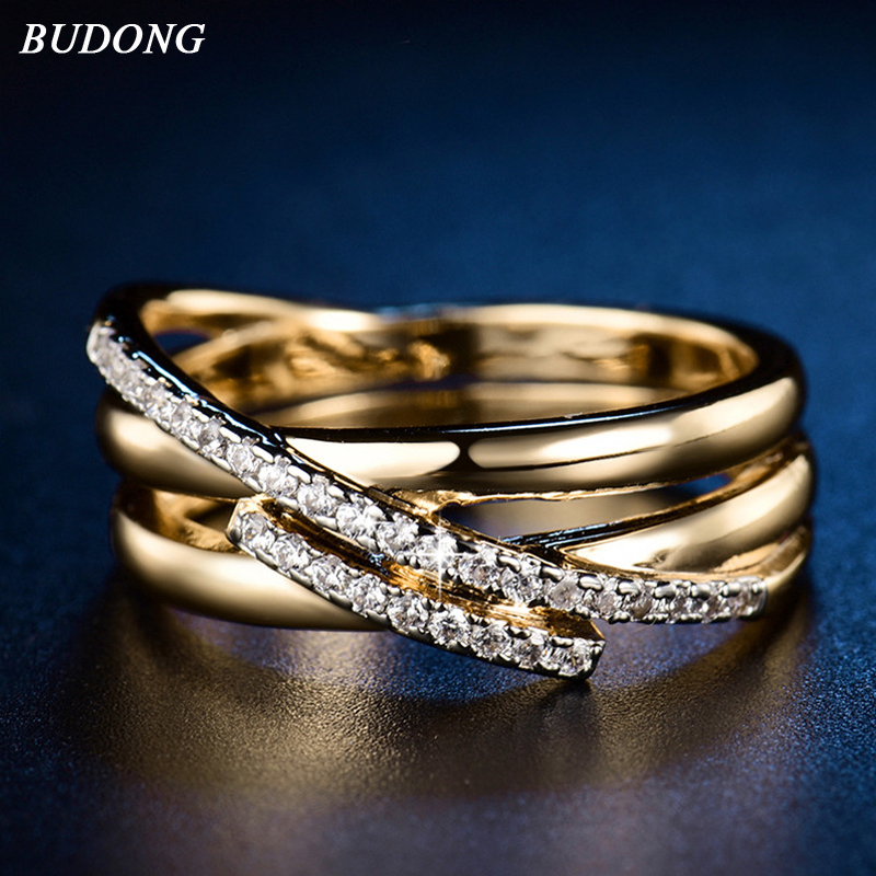 BUDONG Top New Antique Mosaic AAA Zircon Crystal Vintage Gold-Color Cruz anillo Mujeres boda dedo lujo Bijoux XUR580