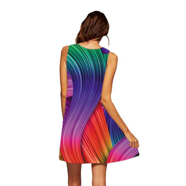 Beach dress Women 2017 Casual Chiffon O-Neck Colours Personality Print Sleeveless Party Club Tank Mini Dress Vestidos WAIBO BEAR