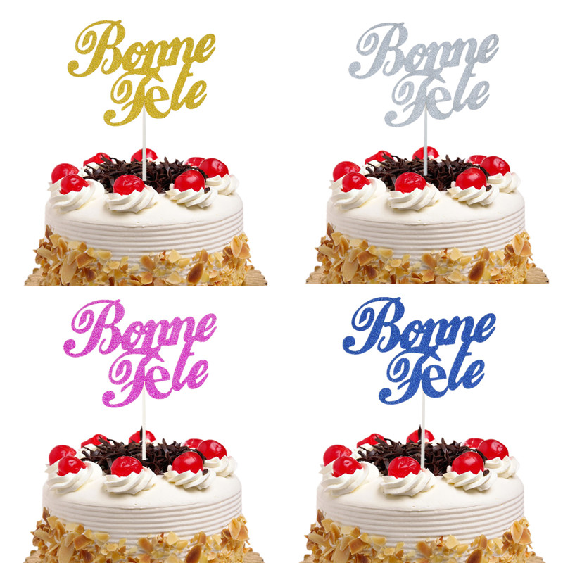 New Arrival Bonne Fete French Happy Birthday Cake Topper Glitter Cake Flags Birthday Party Cake Decor Babyshower Cake Flags