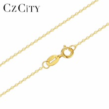 CZCITY 18K White Yellow Gold Chain Pure Gold Necklace Fine Chain Light Chain Gold Necklace Best Gift for Women