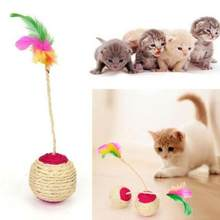 Hot Sale 1PC Pet Toys Cat Claw Scratching Toy Shuttlecock Ball Developmental Toys Colorful Feather Toy Ball Random Color 6.5CM(China)