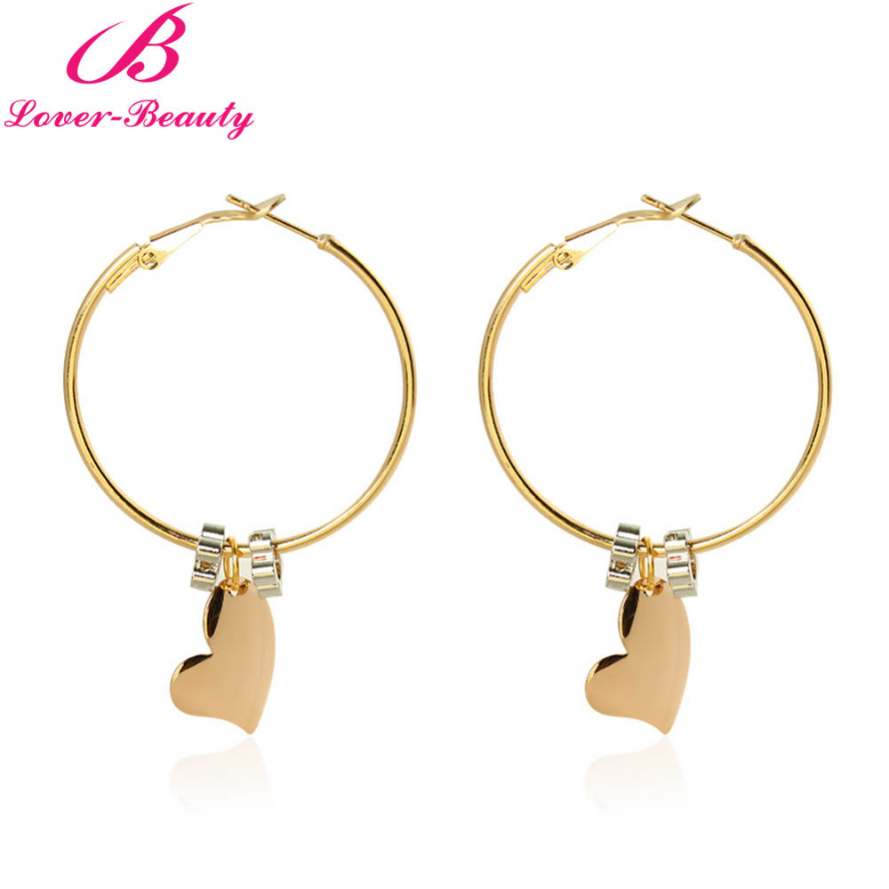 Lover Beauty European Big Round Plated Earrings Gold