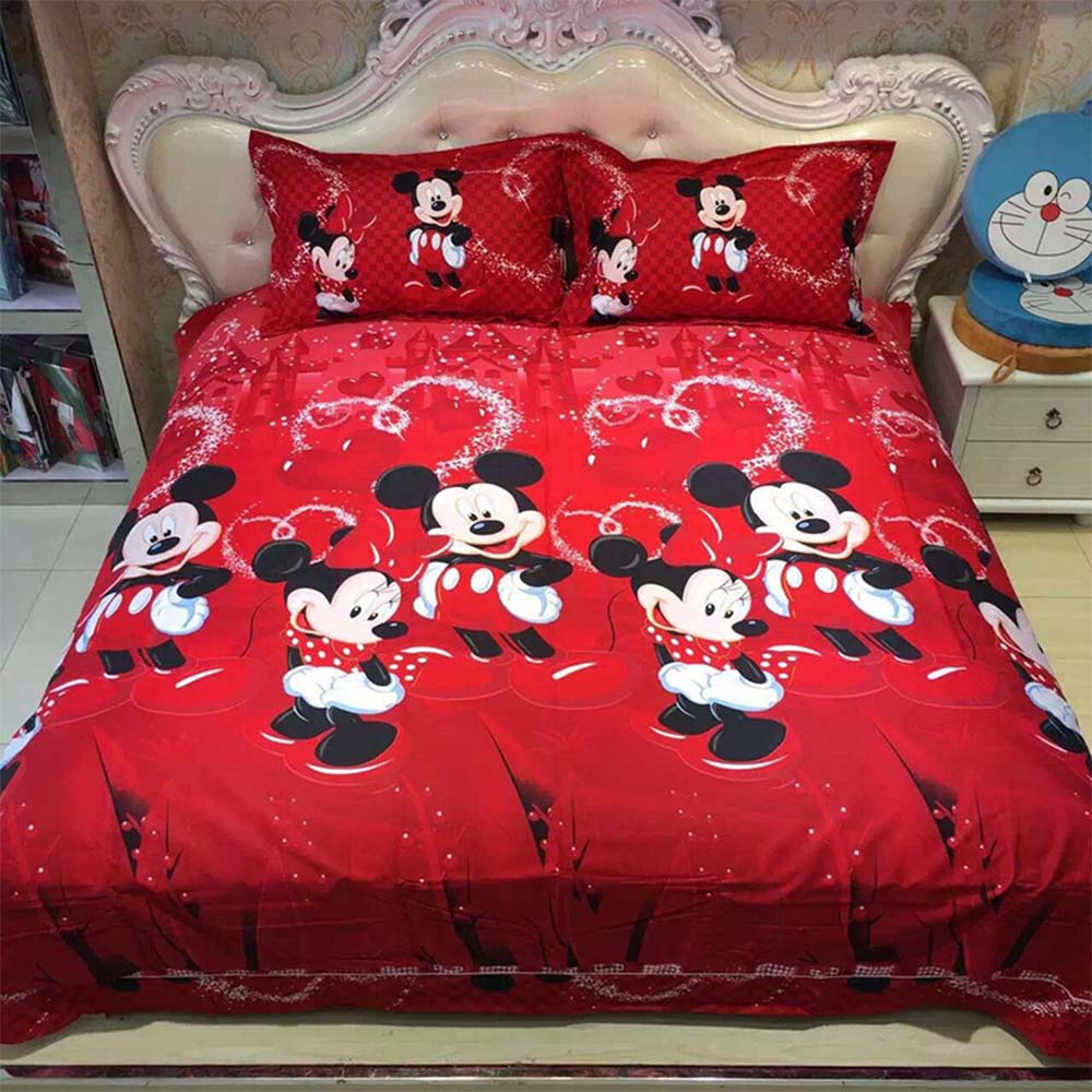 Disney Mickey Mouse and Minnie 3PCS Cotton Bedding Set Red Color Bed Sheet Soft High Quality