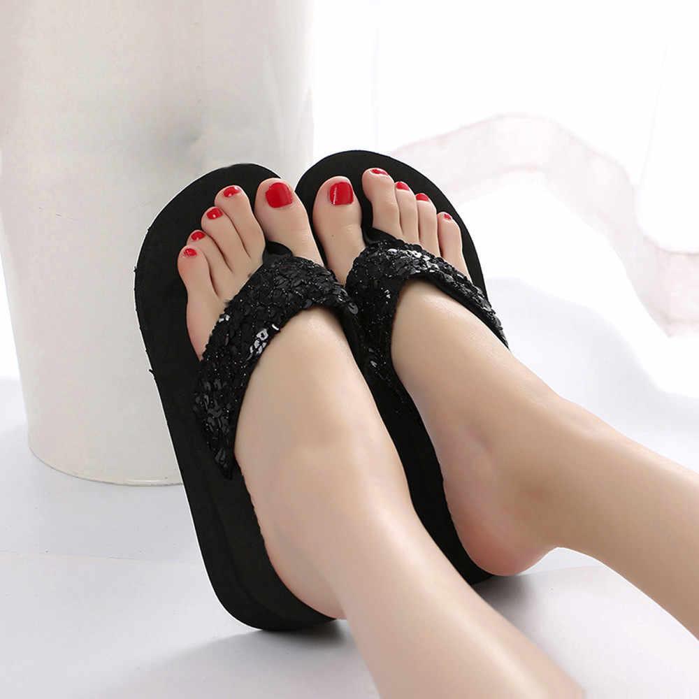 Sapatas das mulheres Chinelos de Verão Lantejoulas Anti-Slip Sandálias Chinelo Indoor & Outdoor Chinelos Sapatos Feminino Verão zapatos mujer