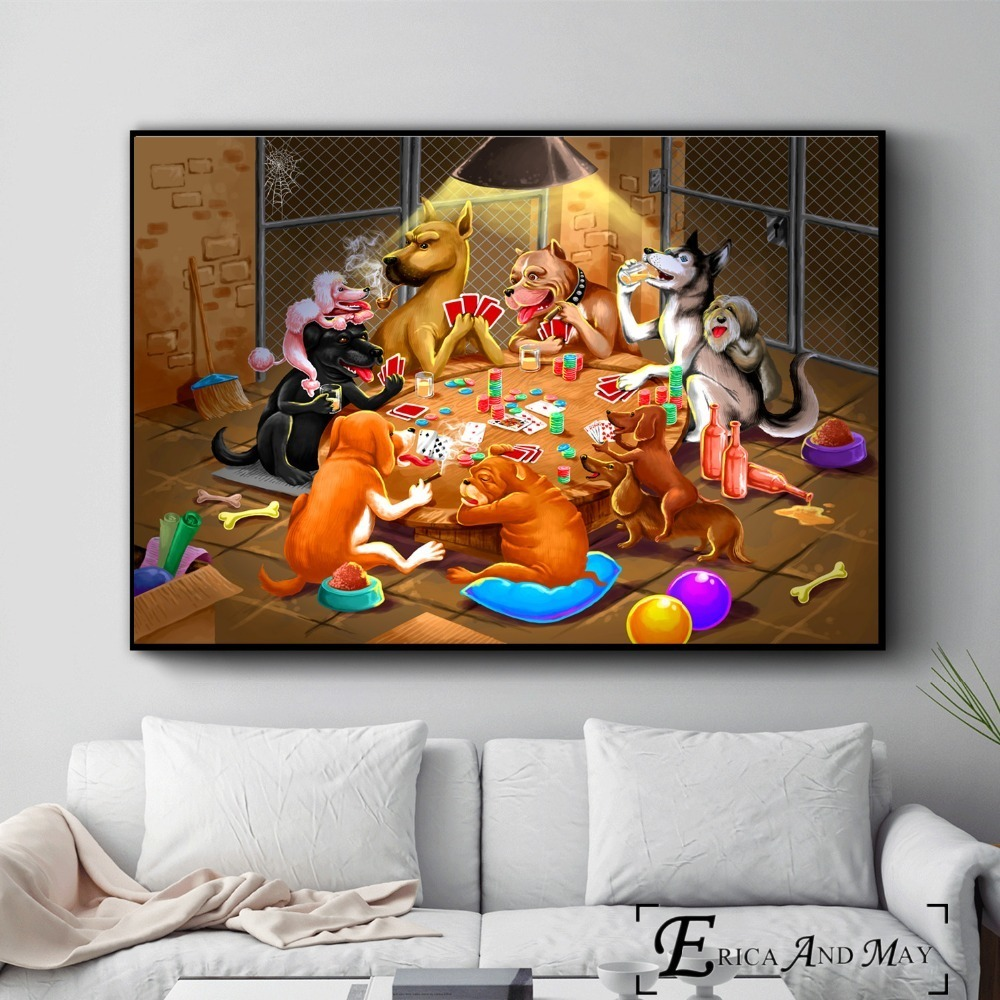 Dogs Playing Poker Funny Style Posters and Prints Wall art Decorative Picture Canvas Painting For Living Room Home Decor Unframe image