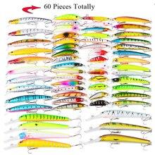 Фотография Vissen Culter Bass Perch Bait 60pcs/lot Minnow /Popper/Wobbler Fishing Lures Set Mixed 8 Models Professional Bass Crankbait Kit