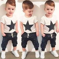 Summer Style Baby Boys Girls Clothes Casual Cotton Baby Clothing Set White Shirts Black Pants 2pcs Newborn Suits Infant Costume