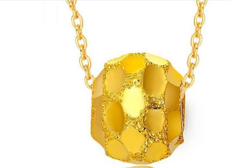 Hot sale NEW Pure 999 24K Yellow Gold Lucky Ball Pendant / Only Pendant hot sale pure 999 24k yellow gold women s lucky o chain star ring us 7