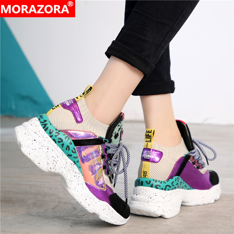 MORAZORA Plus size 35 42 Genuine leather women sneakers lace up sock casual shoes round toe