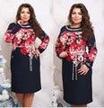 Большой размер 6XL 2016 Жира ММ Женщина платье Весна длинным рукавом печати платья плюс размер женская одежда 6xl платье
