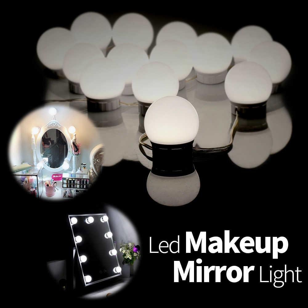 CanLing светодиодный 12 Вт 16 Вт 20 Вт макияж зеркало туалетный столик свет 6 10 14 лампочек комплект USB 12 В туалетный столик с зеркалом настенный светильник для ванной комнаты