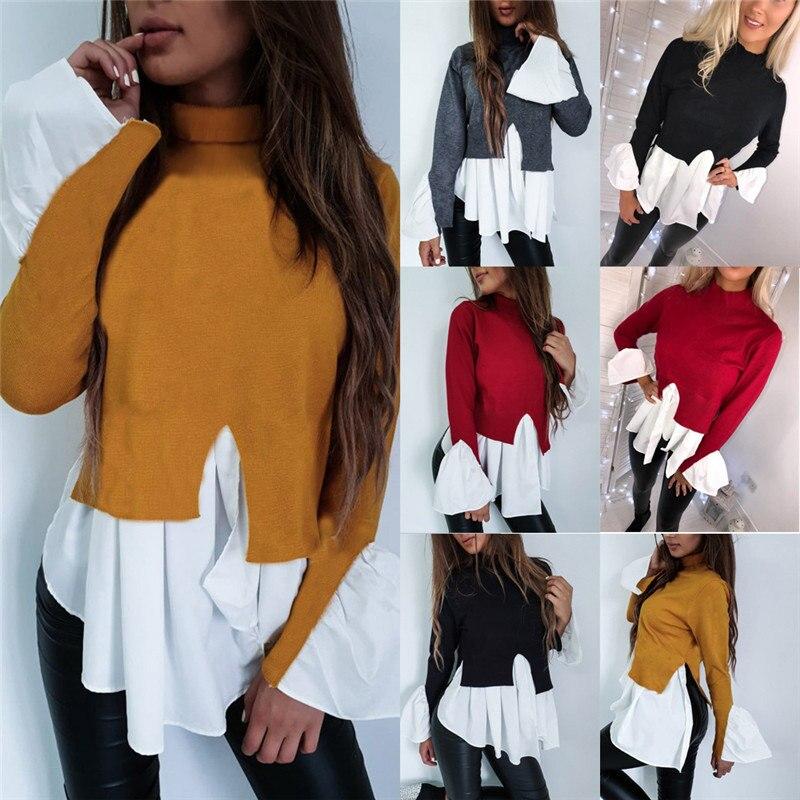 Fashion UK Fashion Women Long Sleeve Frill Ruffle Tops Casual Loose Ladies   Blouse     Shirt   elegant Long Sleeve Female Party   Blouse