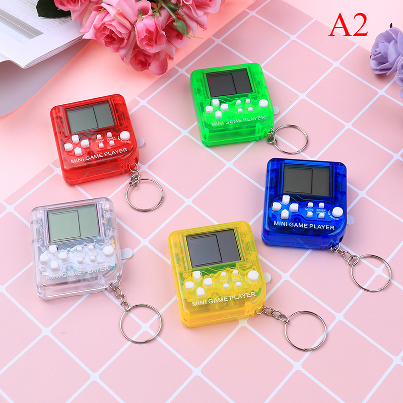 Mini Tetris Children Handheld Game Console Key Chain Portable LCD Players Children Educational Electronic Toys Keychain