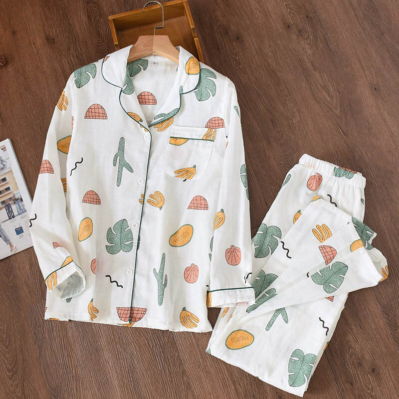 Image 3 - 2019 Cartoon Cactus Printed Pajama Ladies 100% Gauze Cotton Pajama Set Long sleeve Turn down Collar Household Clothes Sleepwear-in Pajama Sets from Underwear & Sleepwears