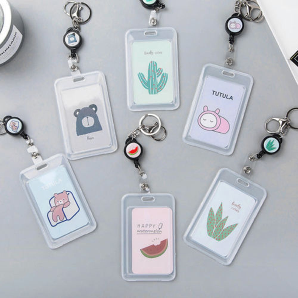 Card Cover With Keyring Chain Fashion Card Bags Bank Credit Card Holder Plastic Cute Cartoon ID Bus Card Pass Holder