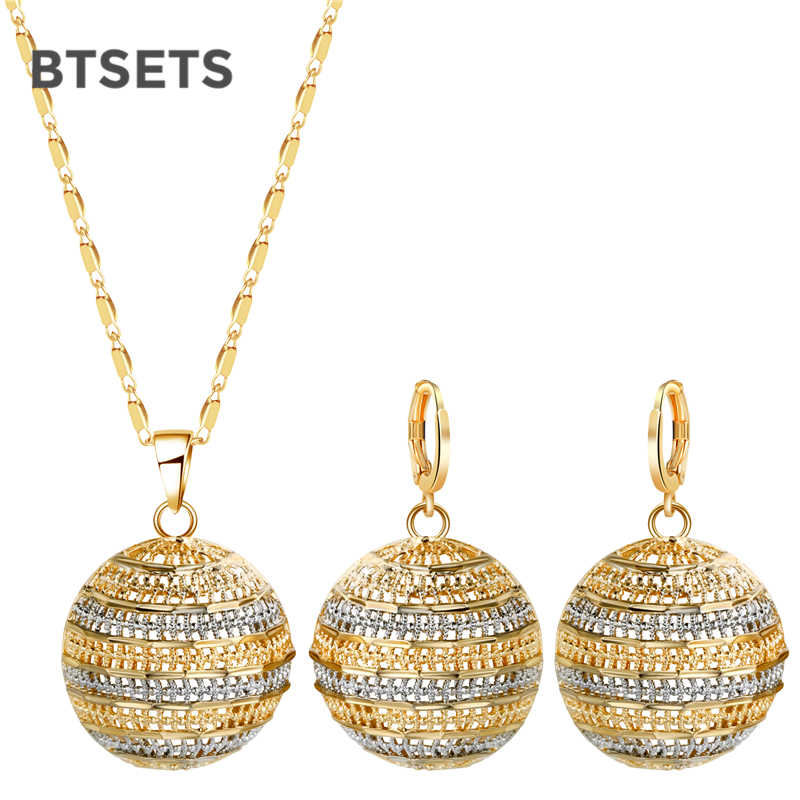 BTSETS Dubai Bridal Jewelry Sets For Women Vintage African Beads Jewelry Set Bridesmaid Gold Color Indian Nigerian Jewelry Set