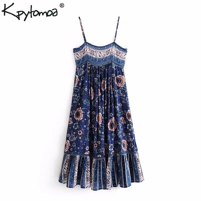 Boho Chic Vintage Floral impresión plisado largo vestido de correa de las mujeres 2019 de moda Vestido de playa de verano Vestidos de las señoras Vestidos de Mujer