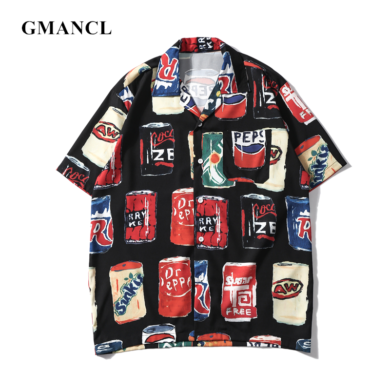 Summer Men Hip Hop Personality Holiday Printed Thin Loose Shirts Streetwear Harajuku Mens Short Sleeve Shirts Camisa Masculina