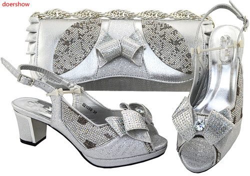 doershow fashion Italian shoe with matching bag set with diamonds for party African women shoe and bag to match silver HVP1-27 doershow shoe and bag to match italian african shoe and bag set african shoe and bag to match for parties matching shoes bch1 66