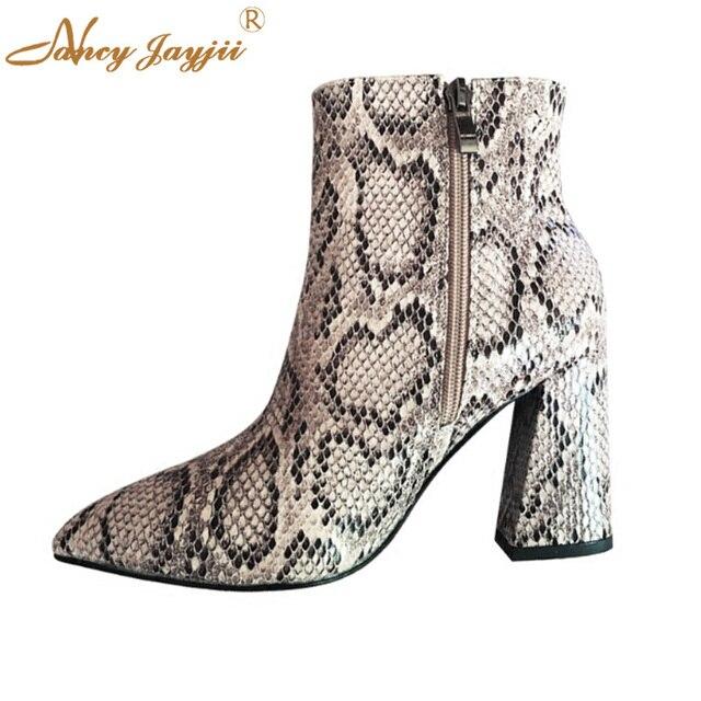2017 Moda Yılan Derisi Fenty Güzellik Çizme Yüksek Kalın Topuklu Ayak Bileği Kovboy Sivri Burun Çizmeler Kadın Fermuar Ayakkabı Luxo Kadın artı