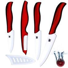 """Nwe Keramik messer 3 """"schäl 4"""" utility 5 """"fleischmesser und eine sharp weiß + rot schäler küche acceessories küchenmesser set"""