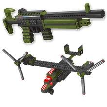 452pcs block Military weapons series aircraft Building Block Can be transformed into a rifle Best Toys for Children