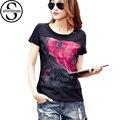 Estampado floral Camiseta Mujeres Camisetas Marca 2017 Tops De Malla 3d Remiendo Del Algodón de la Ropa de Las Mujeres Camisa Femenina Femenina de Talla grande