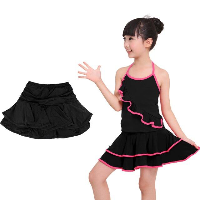 Wholesale Cute Spandex Latin Dance Skirt Girls Kids Children Ballroom Dancing Skirt Inside With Shorts Mini Skirt 4