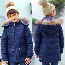 2017 Children's Winter Jackets Fashion Print Down Dock Long Thick Jacket Boy Children's Clothing Army Gren Black Blue