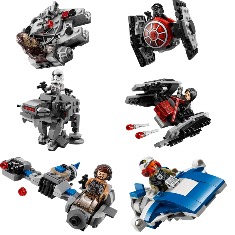 New 1pcs Star Wars Spaceship Microfighters Millennium AT-ST Fighters Building Blocks Bricks Toys With 10893 10894
