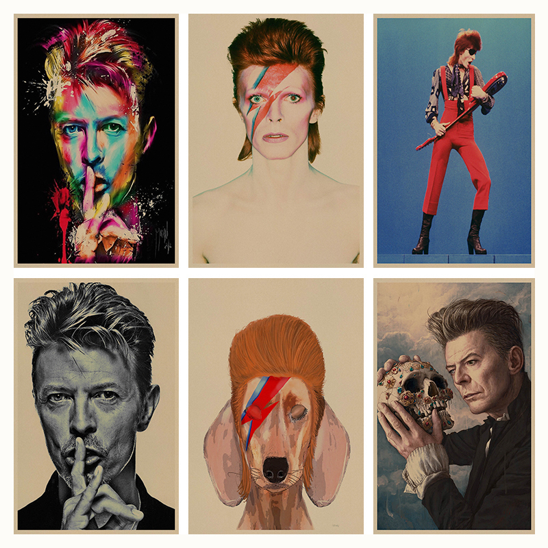 David Bowie retro Cartel Retro de Papel Kraft Café Bar Pintura Decoración Del Ho