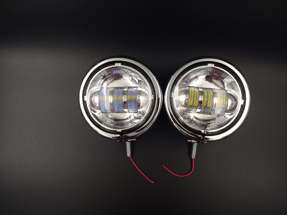 1 Pair Chrome 4.5 LED Auxiliary Spot Harley Fog Passing light and 4.5 shell for 4.5 LED Projector Auxiliary Passing spot beam harley spectrum into the west 34 strings and above spot