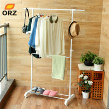 ORZ Drying Laundry Hanger Adjustable Double Rods Garment Rack Rolling Hanging Clothes Rack Shoes Cap Bag Storage Organizer