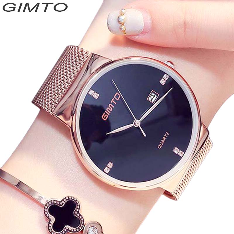 GIMTO Brand Fashion Wristwatches Women Gold Diamond Clock Ladies dress Quartz Couple Watch Relogio Feminino new fashion brand gold geneva casual quartz watch women crystal silicone watches relogio feminino dress ladies wristwatches hot