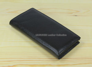 Image 4 - Factory Price Cowhide Genuine leather Mens wallet long clutch Bag Genuine Leather wallet Purse Coin Bag Money Clip Black WL004