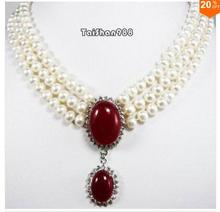 Nobility jewelry Silver 3 rows white pearl red jade Necklace Wonderful Nobility Fine Wedding Jewelry Lucky Women's