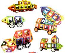 220 pcs Grande taille magnétique blocs de construction Grande roue Brique concepteur Éclairez Briques magnétique jouets Enfants de cadeau d'anniversaire