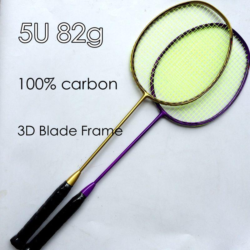 2 pc Free shipping 100% Carbon fiber N80 5U 82g Badminton Racket 3D blade Frame Badminton Racquet Racket