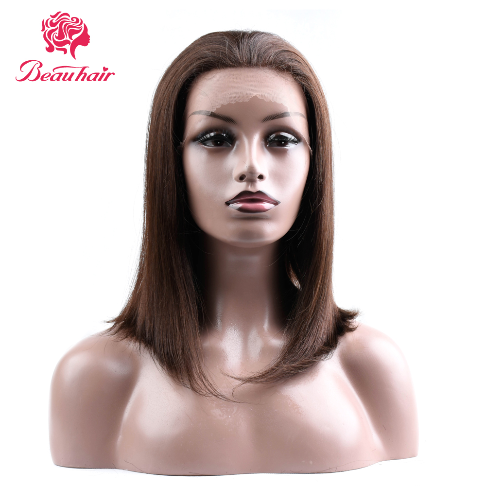 BEAUHAIR #2/#4/Natural Color 150% Lace Front Human Hair Wigs With Baby Hair Peruvian NonRemy Hair 14-16Straight Short BOB Wig ...