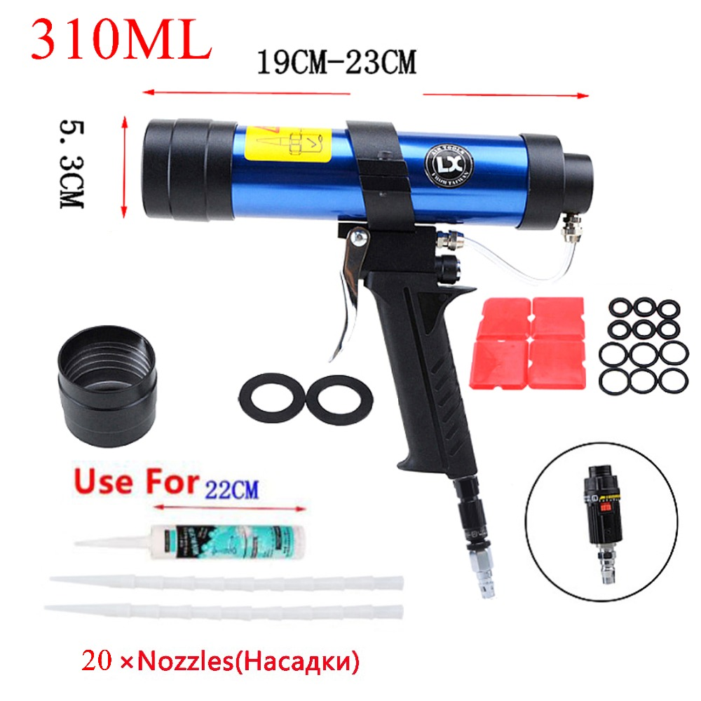 цена на 310ml Cartridge Gun Air Glass Pneumatic Caulking Gun Manual Silicone Pistol Glue Sealant Nozzles Paint&Decorating Smoother tools