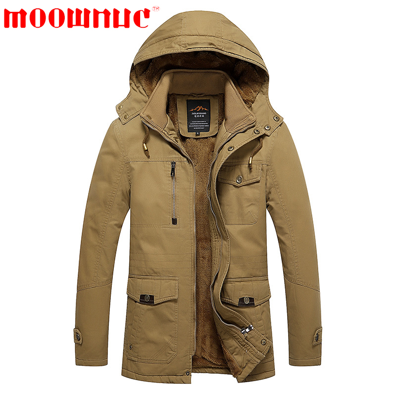 Down Jackets For Men With Hat With Velvet Keep Warm Free Shipping Large Size Casual Fashion Fit Business Jackets Brand MOOWNUC